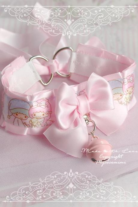 Pastel Little Twin Star Choker Necklace ,Kitten Pet Play Collar , DDLG Pink Satin Bow Bell Tug Proof O Ring Kawaii pastel Fairy Kei