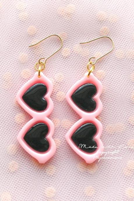 Heart Shape Sunglasses pink Dangle Earrings or Clip On No Pierce Earrings , Cutie Adult Baby Lolita Kawaii Baby Girl Fairy Kei Jewelry