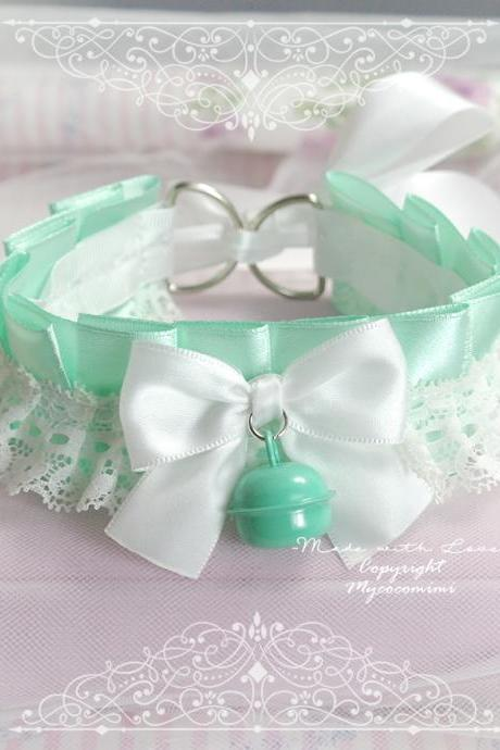 Mint Green Collar Kitten Play Gear , DDLG Choker Necklace White Lace Ruffles Bow Bell , Jewelry Soft pastel goth Lolita BDSM Daddys Girl