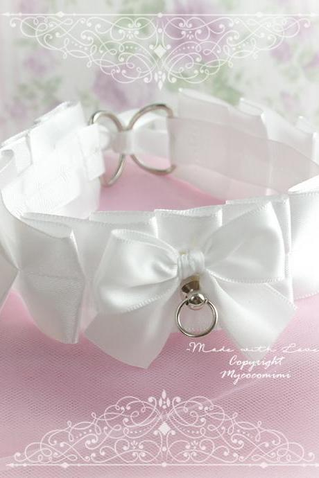 BASIC ALL WHITE Kitten Pet Play Gear Collar Choker Necklace , Satin Bow O ring ,Daddys Girl Jewelry ddlg pastel Lolita Kawaii