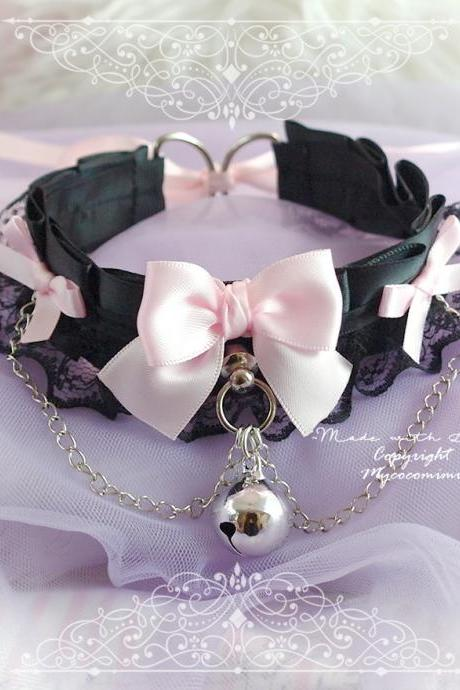 Kitten Pet Play Collar Gear ,Princess DDLG Choker Necklace Black Satin Lace Ruffles Chain Pink Bow Bell Tug Proof Daddys Girl Kawaii pastel