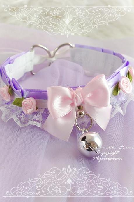 Lilac white Lace Choker Necklace Kitten Play Collar Gear ,Daddys Girl Costume, Lavender Purple Pink Bow Bell Rose Jewelry ,Kawaii DDLG