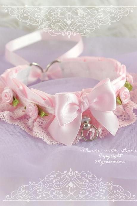 All Pink Choker Necklace Kitten Play Collar Gear ,Baby Pink Lace Bow Tug Proof O Ring Rose Flower pastel goth Lolita , Daddys Girl DDLG BDSM