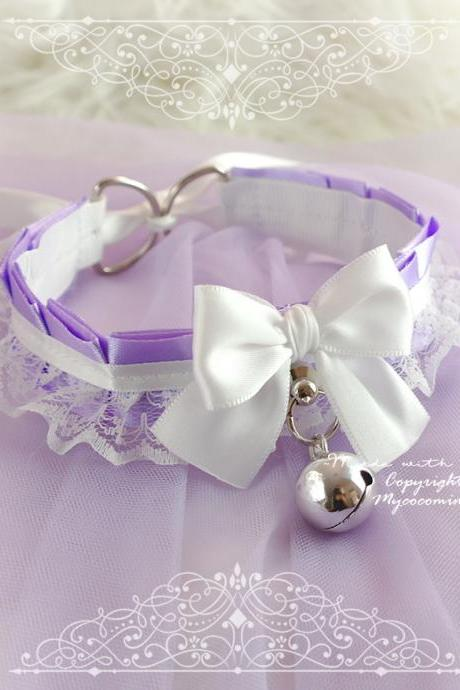 Lilac White Lace Choker Necklace ,Kitten Rule Play Collar Gear, Purple lavender Bow O Ring Bell Tug Proof , Adult Baby Babe Jewelry pastel