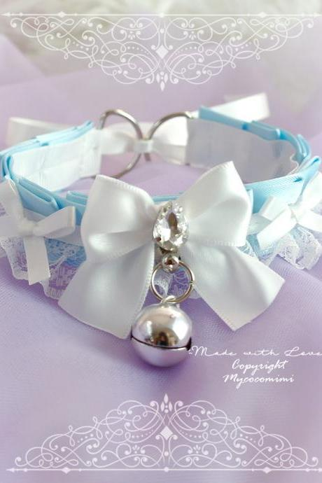 Baby Blue Kitten Play Collar Gear Choker Necklace ,DDLG White Lace Rhinestone Bling Bow Bell Tug Proof ,Jewelry pastel Daddys Girl BDSM