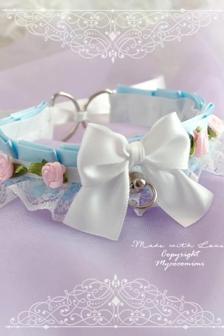 Baby Blue Kitten Play Collar Gear, Choker Necklace DDLG White Satin O Ring Bow Pink Rose Flower, pastel Lolita Daddys Girl BDSM Jewelry