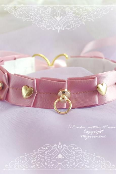 Luxury Day Collar Choker Necklace ,Rose Pink Dusty Pink Gold Heart O Ring , Tug Proof Kitten Play Gear Jewelry pastel Romantic Princess