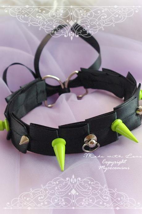 BDSM Gothic Choker Necklace Black Satin Plated Neon Green Silver Spikes O Ring , Tug proof , Kitten Play Collar Gear goth Punk Rock Jewelry
