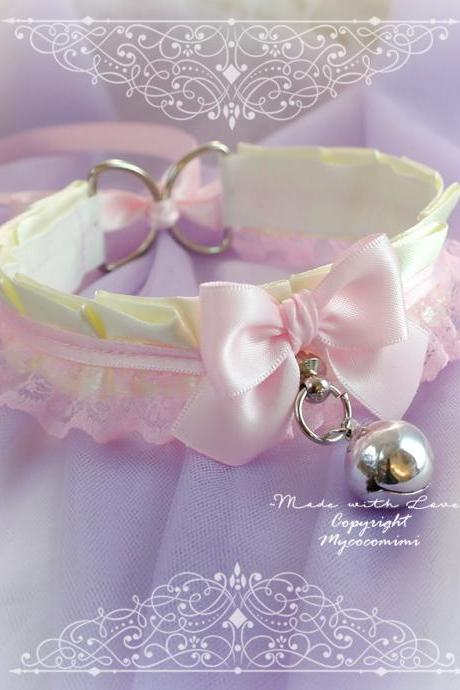 Beige Baby Pink Lace Choker Necklace Princess Kitten Play Collar Gear,Bow Tug Proof O Ring Bell ,DDLG Soft Grunge Jewelry pastel Cutie