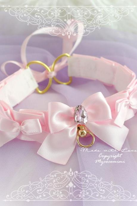 Baby Pink Day Collar Choker Necklace Gold O Ring Bow Bling Rhinestone , Tug Proof Kitten Play Collar Gear Jewelry pastel Romantic Princess