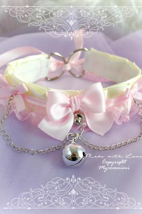 Beige Baby Pink Lace Choker Necklace Kitten Rold Play Collar , DDLG Ruffles Bow Bell Chain ,Jewelry Daddys Girl Kawaii pastel Princess BDSM