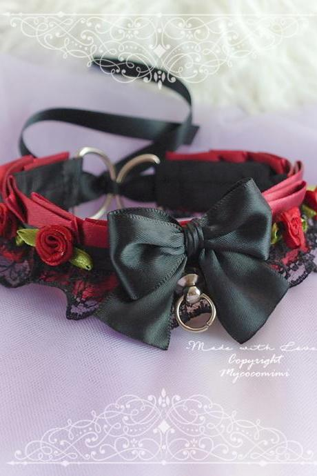 Vampire Kitten Role Play Collar Choker Necklace ,Burgandy Red Black Lace Bow Rose Flower Tug Proof O Ring ,Gothig Goth Jewelry BDSM