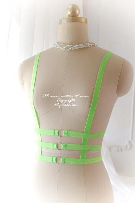 NEON GREEN Daddys Girl Body Harness Corset Top Stretch Cage Bondage Bra Bralette , Bdsm DDLG Lingerie Neon Goth Gothic Lolita