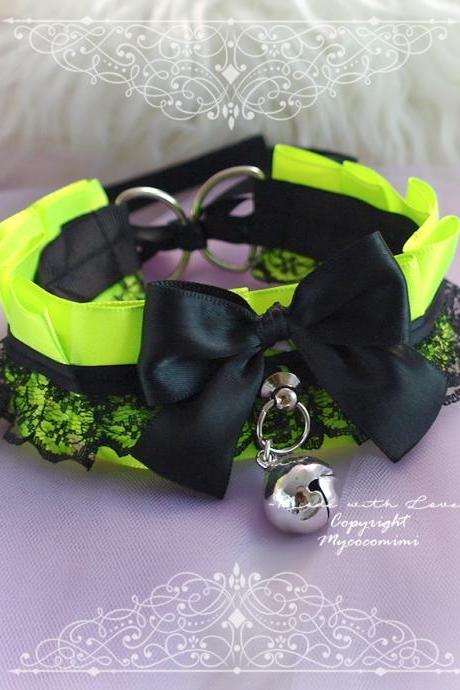 Neon Green Choker Necklace , Kitten Pet Play Collar Gear DDLG Black Lace Bow Bell Tug Proog O Ring Bell , ddlg Bdsm Goth