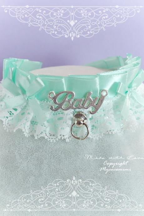 BABY GIRL Choker Necklace ,Kitten Play Collar ,Mint Green White Lace Ruffles Bow O Ring Tug Proof , pastel Kawaii Cute DDLG Daddys Girl