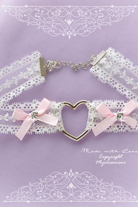 Lace Choker Necklace, Heart White Lace Baby Pink Bow Bling Rhinestone ,neck collar pastel cute Lolita Fashion Everyday jewelry