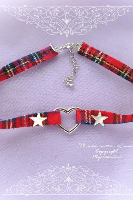 Red Plaid Check Choker Necklace, Heart and Stars ,neck collar pastel cute Lolita Fashion Grunge jewelry