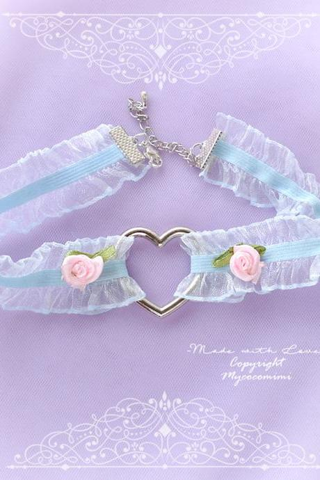 Heart Choker Necklace, Baby Blue Ruffles lace Heart Baby Pink Rose Flower ,neck collar pastel cute Kawaii Grunge Fashion Everyday jewelry