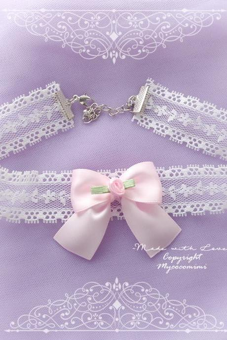 Lace Choker Necklace, White Lace Baby Pink Bow Rose Flower ,neck collar pastel cute Lolita Fashion Everyday jewelry