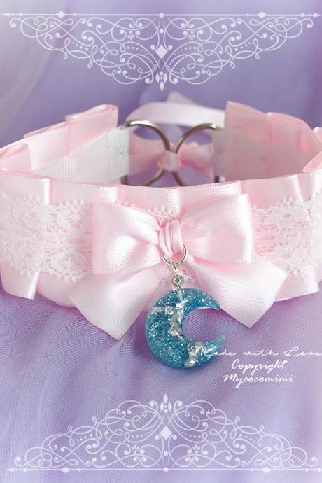 Choker Necklace , Kitten Play Collar Pink Satin White Lace Bow Glitter Blue Crescent Moon Pandent DDLG Daddys Girl Kawaii pastel