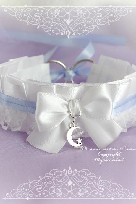 Choker Necklace ,Kitten Pet Role Play Collar DDLG White Lace Ruffles Baby Blue Satin Bow Little Crescent Moon Star ,Jewelry pastel