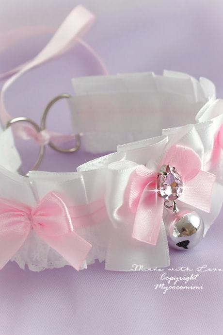 Choker Necklace Kitten Play Collar Pastel Girl Baby Pink Blue White Lace Bow Bell Tug Proof Jewelry Lolita DDLG Kawaii Soft Fairy kei Cute
