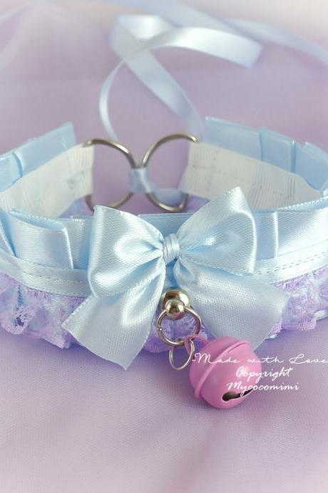 Choker Necklace Kitten Play Collar DDLG Baby Blue Purple Lavender Lace Ruffles Bow Bell, Jewelry Daddys Girl Kawaii pastel goth Princess