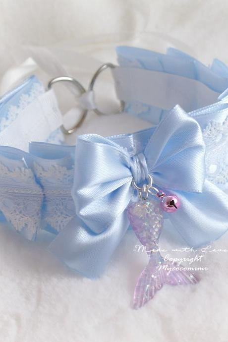 Mermaid Tail Choker Necklace Kitten Play Collar DDLG Baby Blue Satin White Lace Bow Little Bell Cute Daddys Girl Kawaii Jewelry Fairy Kei