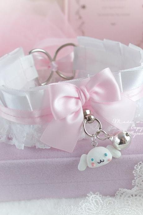 Kawaii Kitten Pet Play Collar Cinnamoroll Choker Necklace White Lace Baby Pink Bow O Ring Bell Jewelry pastel Lolita DDLG BDSM Fairy Kei