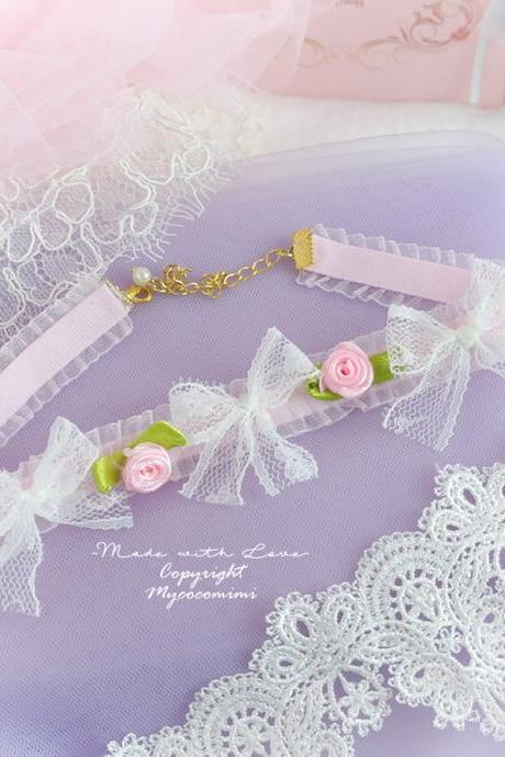 Choker Necklace Baby Pink White Lace Bow Rose Flower pastel Lolita Rococo Victorian Style Romantic Everyday Jewelry