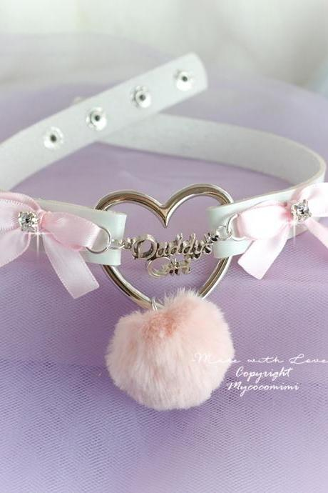 Winter Choker Necklace Daddys Girl White Faux Leather Heart Pink Bow Faux Fur Ball Kitten Play Day Collar pastel Kawaii Jewelry Lolita DDLG