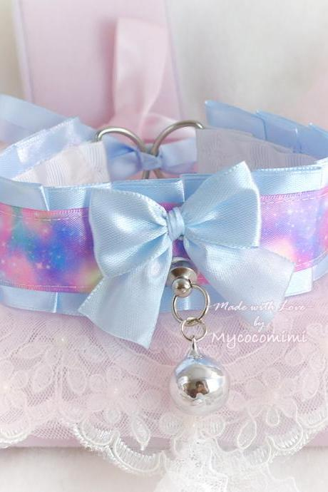 Pretty Pastel Galaxy Choker Necklace Kitten Play Collar Baby Blue Satin Bow Tug Proof Cute pastel goth Lolita Princess