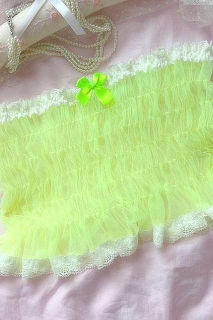Neon Yellow Tulle White Lace Smocked Mesh Crop Tube Top Bralette Clothing Lingerie BB59
