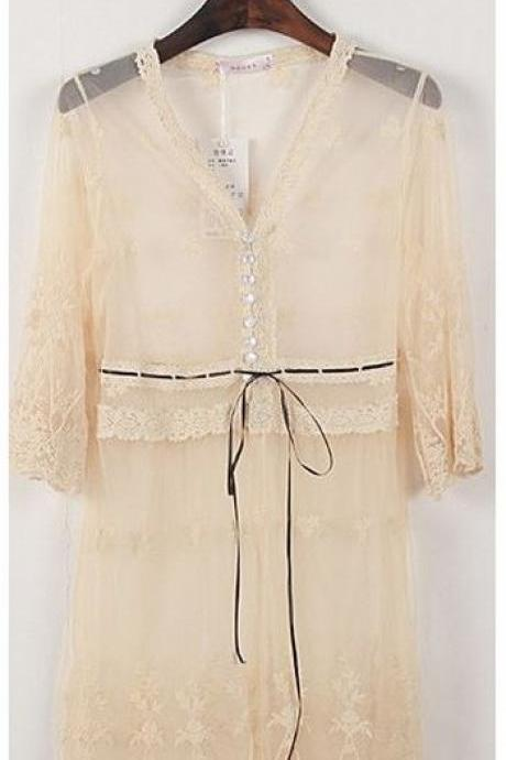 Boho Bohemian Romantic Sheer Lace Kimono Cardigan Jacket Beige Fashion Sexy