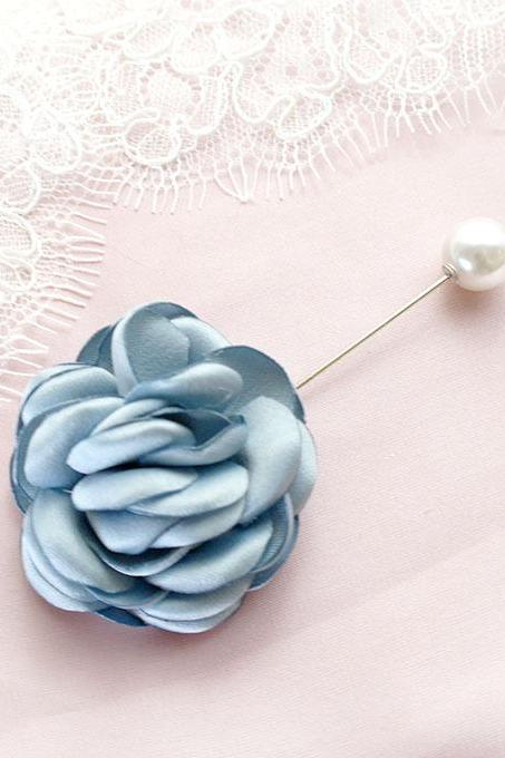 French Blue Peony Satin Flower Men's Pearl Boutonniere wedding,Lapel pin,hat pin,tie pin brooch accessories tie pin , cufflinks Groom