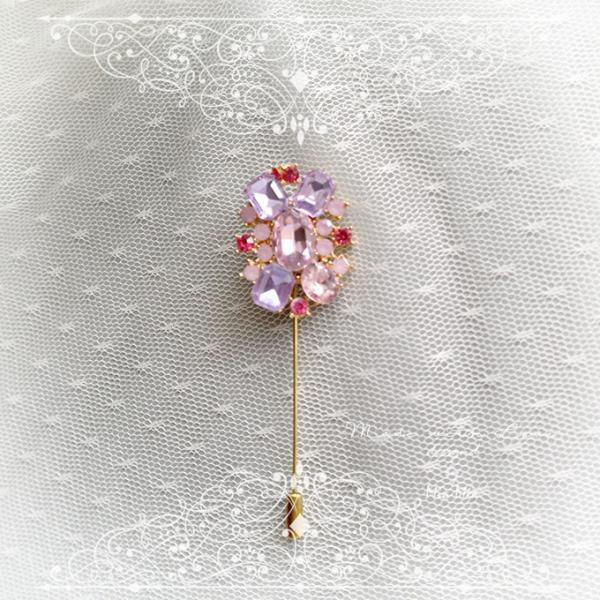 Pink Lilac Crystal Rhinestone Men's Boutonniere ,wedding, Lapel pin ,hat pin ,tie pin brooch Jewelry accessories , luxury bling scarf brooch