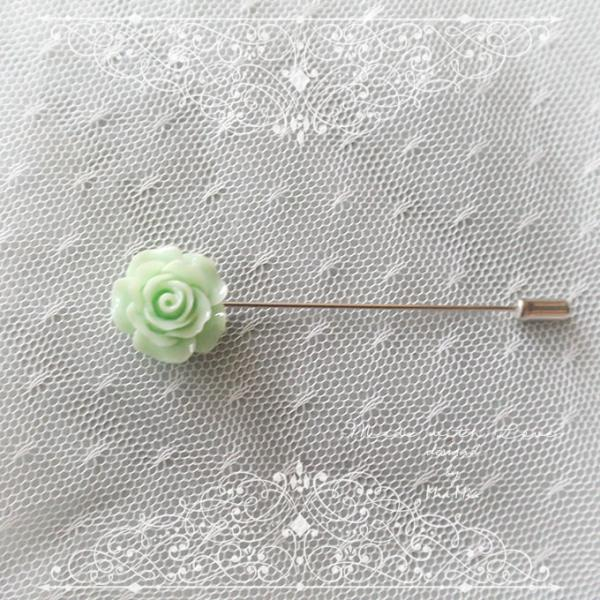 Small Flower Lapel Pin , Mint Green Rose Men's Boutonniere , wedding Lapel pin, men suit pin , tie pin brooch accessories , cufflinks Groom