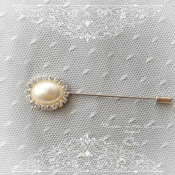 Pearl Lapel Pin , Pearl Oval Rhinestone Men's Boutonniere , wedding Lapel pin, men suit pin , tie pin brooch accessories , cufflinks Groom