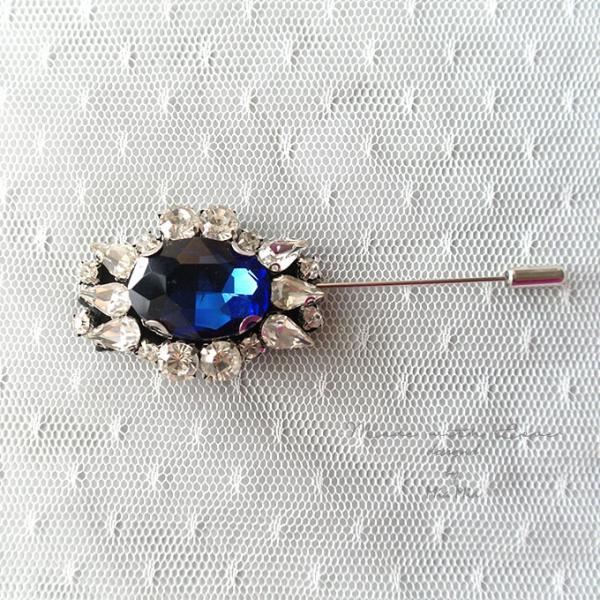 Luxury Blue Rhinestone Men's Boutonniere Buttonhole for wedding,Lapel pin,hat pin,tie pin brooch accessories tie pin groom