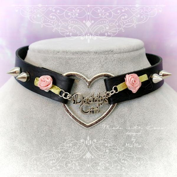 BDSM Daddys Girl Choker Necklace Black Faux Leather Heart Pink Rose Spikes Kitten Play Collar pastel goth Lolita Neko Cat DDLG