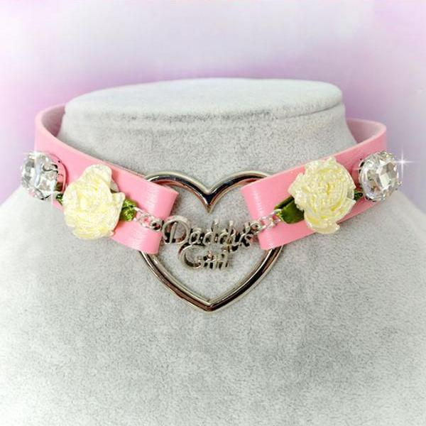 BDSM Daddys Girl Choker Necklace Pink Faux Leather Heart Flower Rhinestone Bling Kitten Play Collar pastel goth Lolita Neko Cat DDLG