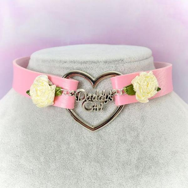 BDSM Daddys Girl Choker Necklace Pink Faux Leather Heart Pink Rose Kitten Play Collar pastel goth Lolita DDLG