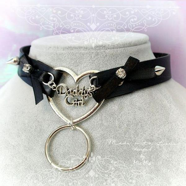 BDSM Daddys Girl Choker Necklace Black Faux Leather Heart Bow Rhinestone Spikes O Ring Kitten Play Collar pastel goth Lolita DDLG