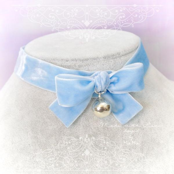 Kitten Play Collar Daddys Girl Choker Necklace Baby Blue Velvet Bow Bell pastel goth Lolita Neko Collar DDLG Adult Baby