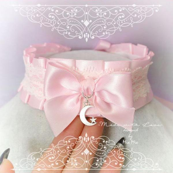 Kitten Pet Play Collar , BDSM DDLG Choker Necklace Pink Satin White Lace Ruffles Bow Moon Star Daddys Girl Kawaii pastel goth Fairy Kei