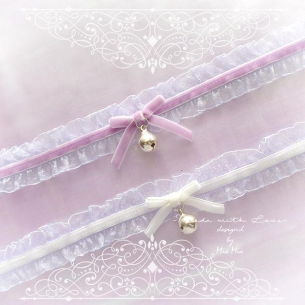 Kitten Pet Play Collar Choker Necklace Pale Lilac Lace Purple White Velvet Bow Bell necklace pastel goth Lolita Neko Fairy Kei DDLG