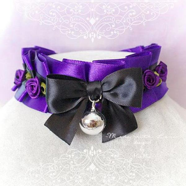 Choker Necklace ,Kitten Play Collar, Royal Purple Black Bow Bell Mini Roses, Lolita BDSM DDLG Daddys Girl Fairy Kei Jewelry