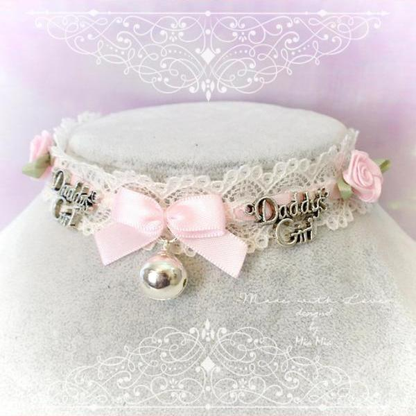 Kitten Play Collar ,Choker Necklace ,Ivory Lace Litttle Bow Bell Pink Rose Daddys Girl , pastel Lolita Jewelry Fairy Kei Jewelry DDLG