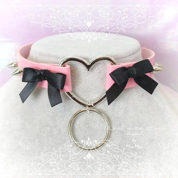 Choker Necklace ,Pink Faux Leather Heart Black Bow Spikes O Ring , Kitten Play Collar, BDSM Daddys Girl , pastel goth, DDLG