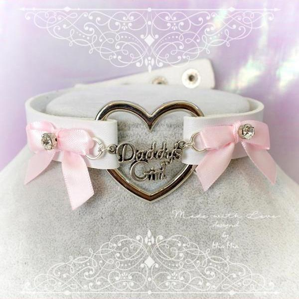 Choker Necklace ,BDSM Daddys Girl White Faux Leather Heart Pink Bow Rhinestone, Kitten Play Collar, pastel goth Lolita, Fairy Kei,DDLG